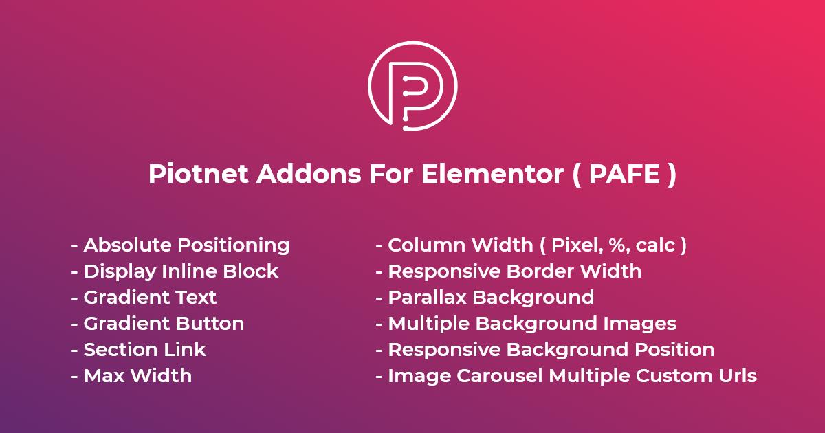 Piotnet Addons For Elementor (PAFE)